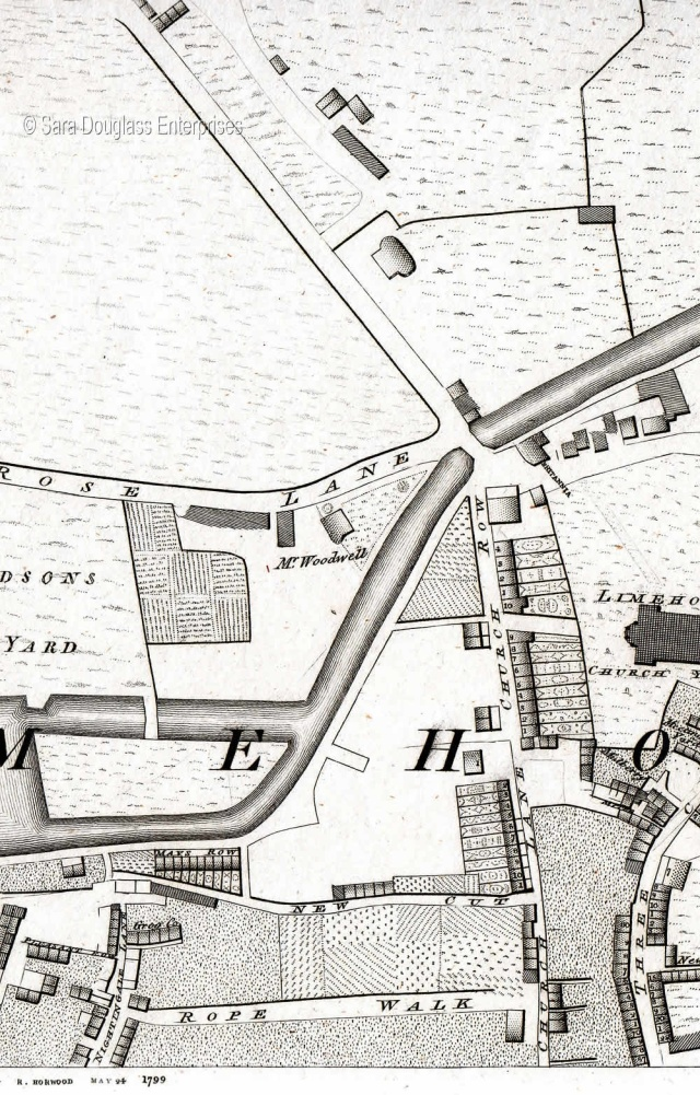 Part of Limehouse, showing St. Anne's church and Church Row (Horwood 1792)