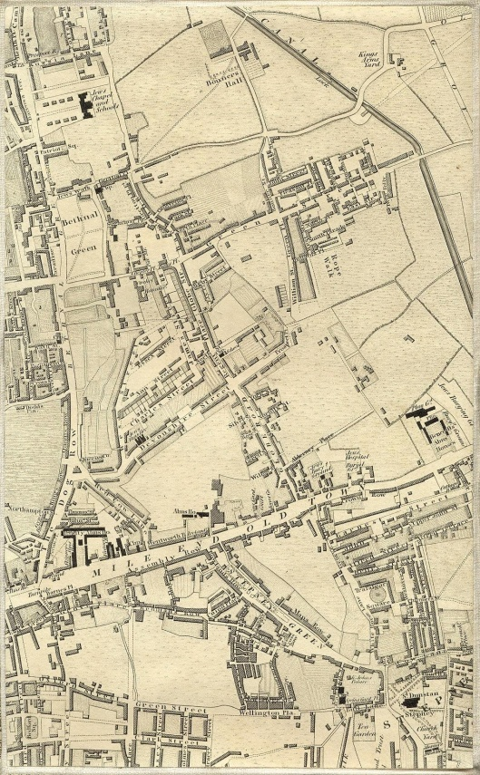 Bethnal Green and Mile End Old Town in Greenwood's 1827 map