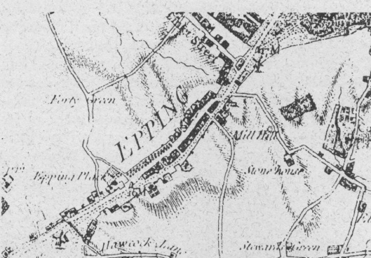 Old map of Epping, with Lindsey Street at top left