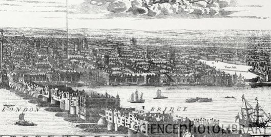 The Thames at London Bridge in the 17th century