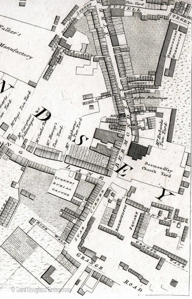 Bermondsey, from Horwood's 1792 map, with Long Walk visible below parish church and close to Bermondsey Square
