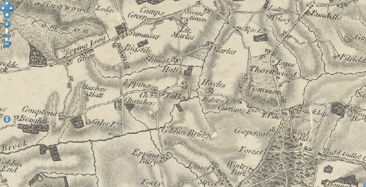 Old map of Epping (date unknown) showing Sivers (Stivyers) Green
