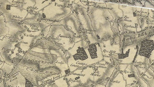Passmores and Epping Long Green are visible on this early 19th century map