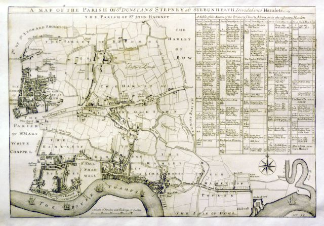 1720 map of the parish of St Dunstan and All Saints, Stepney