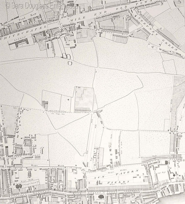 Section of Horwood's 1792 map, showing Mile End Old Town