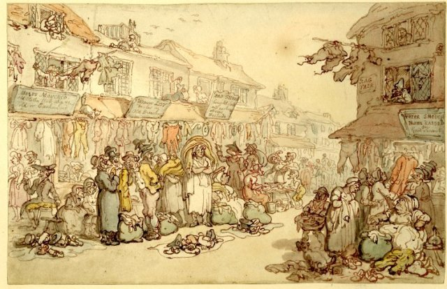 Ragfair, Rosemary Lane by Thomas Rowlandson, late 18th century