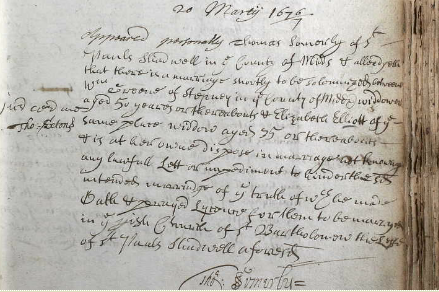 The marriage allegation for William Greene and Elizabeth Elliott