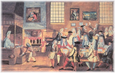 Merchants doing business in an 18th century coffee house