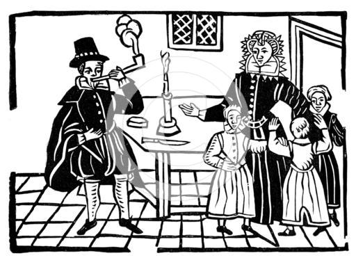 Early 17th century family (woodcut)