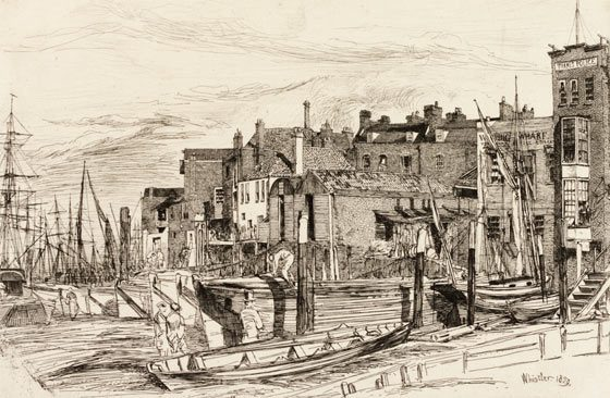 Sketch of Wapping by Whistler