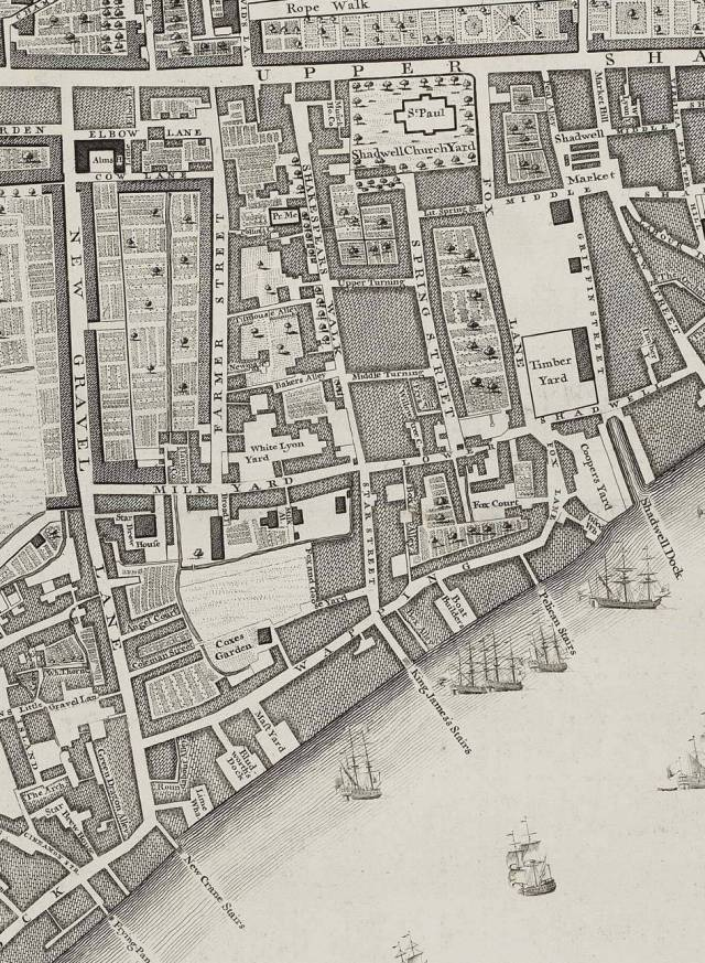 Section of Rocque's 1746 map, showing Shadwell and Wapping. The street marked 'Wapping' was also known as Wapping Wall.