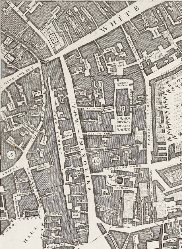 Aldgate, from Rocque's map of London, 1746, showing part of Houndsditch at top left and Tower Hill at bottom left