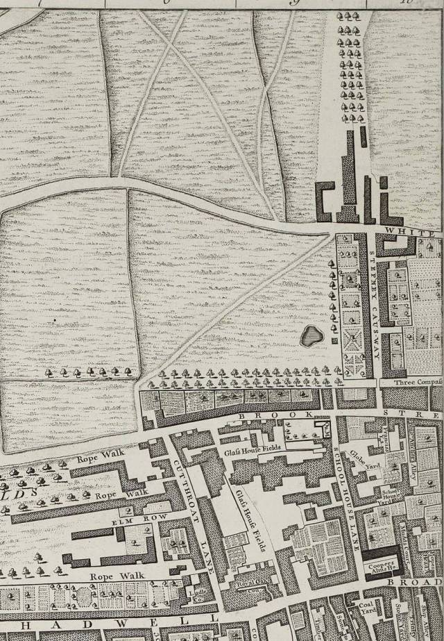 Section of Rocque's map of 1746, showing Brook Street, Ratcliffe