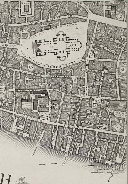 Section of Rocque's map of 1746, showing area of London where Alice Byne owned property