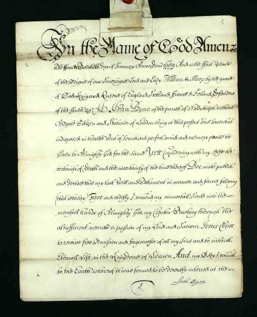 First page of the 1689 will of John Byne