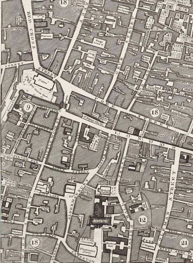 Section of John Rocque's map of London in 1746, showing Lad Lane in the parish of St Michael, Wood Street, where John Byne had property (see will below)