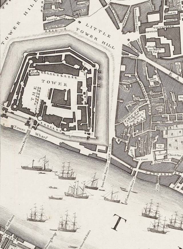 Tower Hill and Little Tower Hill, from Rocque's London map of 1746