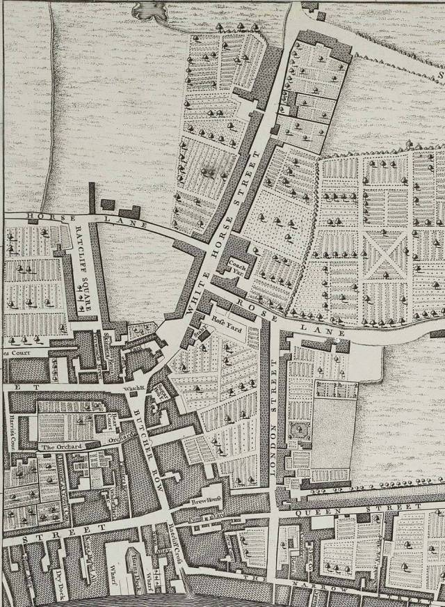 Section of Rocque's 1746 map, showing White Horse Street, Ratcliffe