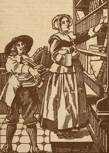 17th century booksellers (via lookandlearn.com)