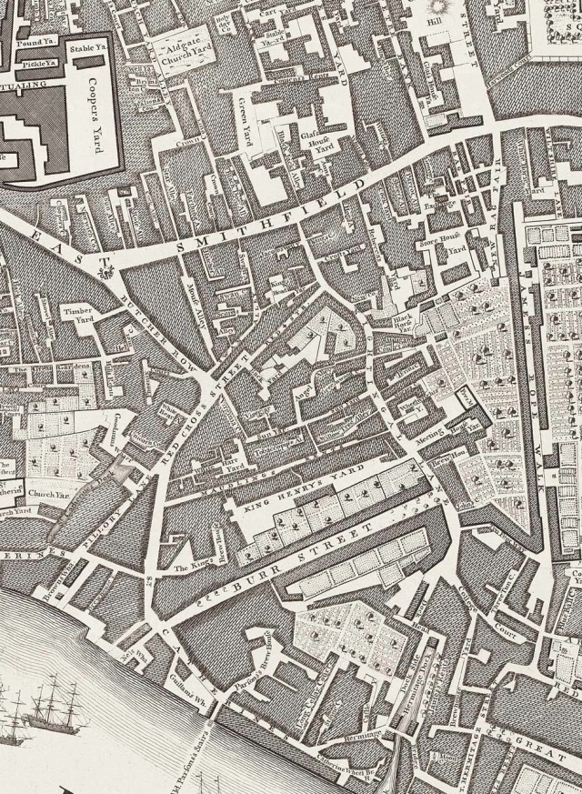 East Smithfield, from Rocque's 1746 map of London