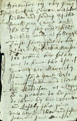 John Manser's record of Rebecca Sawen's will