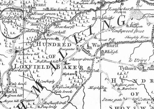Part of Richard Budgen's map of 1724, showing Wadhurst and Hightown