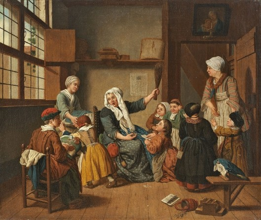18th century school for girls: painting by Jan Josef Horemans (1682 - 1759)