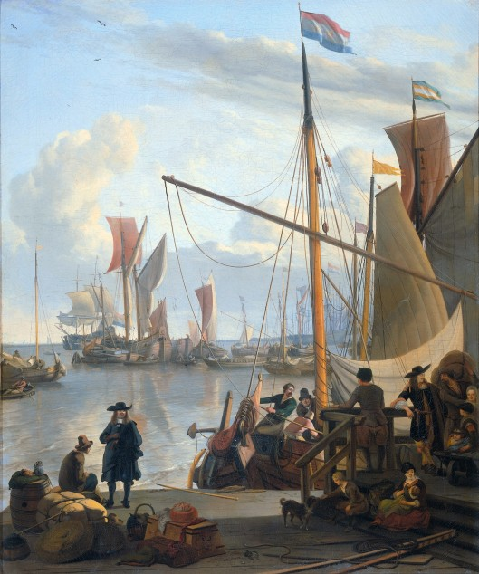 17th century ships in port: from a painting by ludolf bakhyusen (via http://siftingthepast.files.wordpress.com)