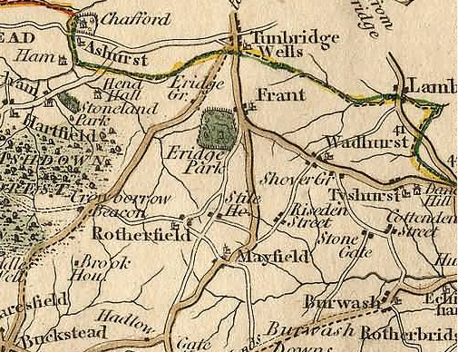 18th century map of area around Wadhurst, Sussex (with Lamberhurst across county border at right)