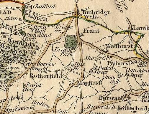 18th century map of area around Wadhurst, Sussex