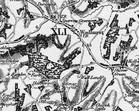 1825 map showing Wenbourne in relation to Wadhurst