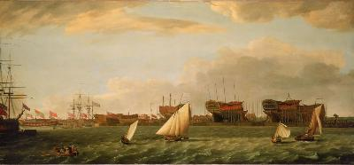 Blackwall Yard (mentioned in Richard Boulton's will) from the Thames, by Francis Holman (1729 - 1784)