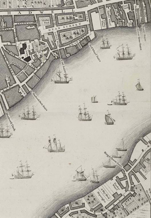 Part of Rocque's 1746 map of London, showing Cock Hill, Ratcliff
