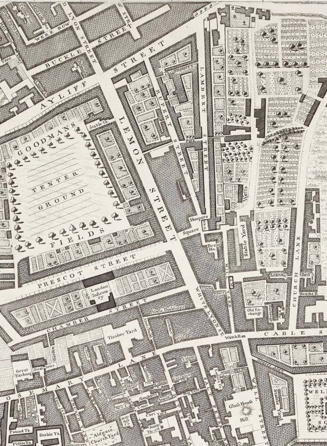 Part of Rocque's 1746 map of London, showing Lemon or Leman Street