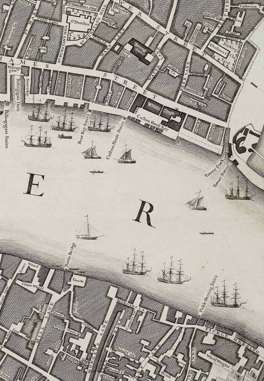 Part of Rocque's 1746 map of London. Priest Alley is at bottom right, off Tower Street