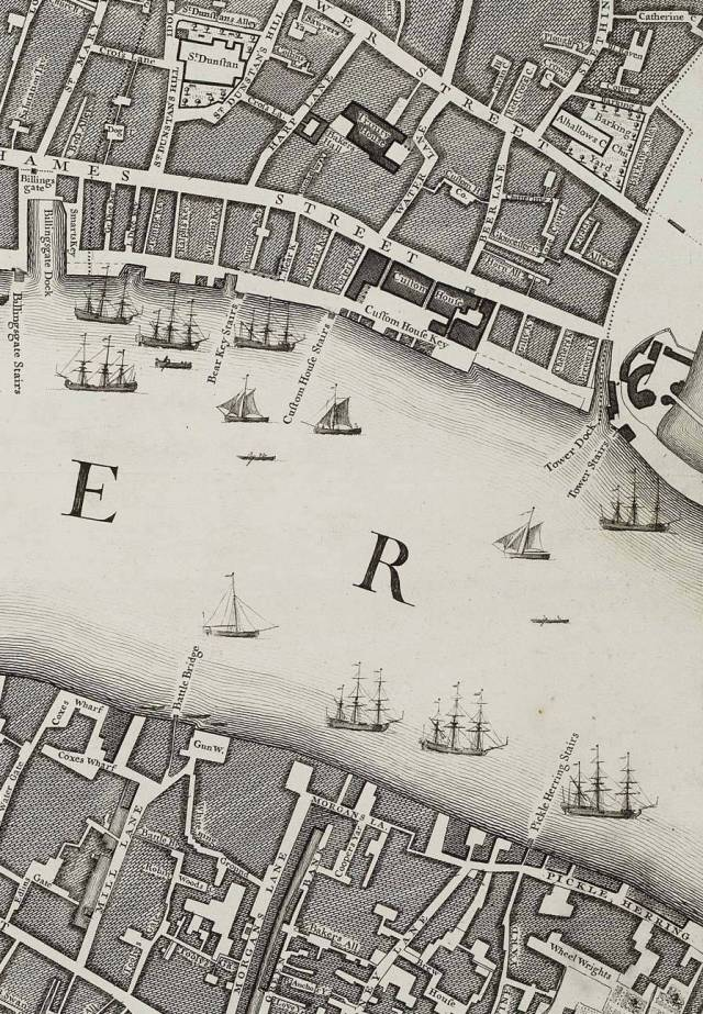 Part of Rocque's 1746 map of London. Chitterlin Alley is at bottom right, off Tower Street