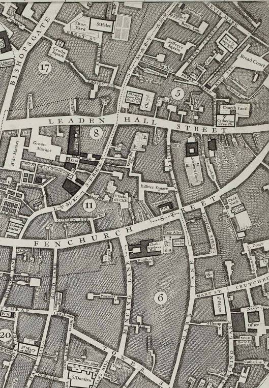 Part of Rocque's 1746 map of London, showing St Olave Hart Street and St Helen Bishopsgate