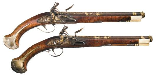 18th century flintlock pistols (via icollector.com)