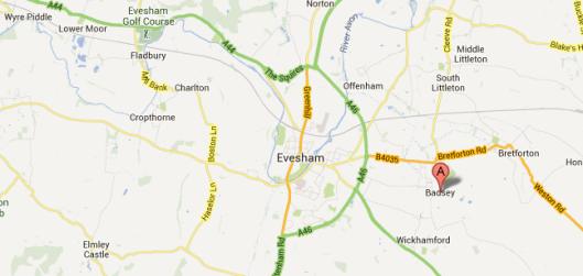 Section from Google Maps, showing Badsey in relation to other places mentioned in William Forrest's will
