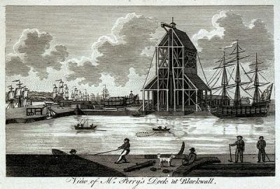 Perry's Dock, Blackwall, in 1789 (Perry purchased the yard from Boulton, Gosfreight and partners)