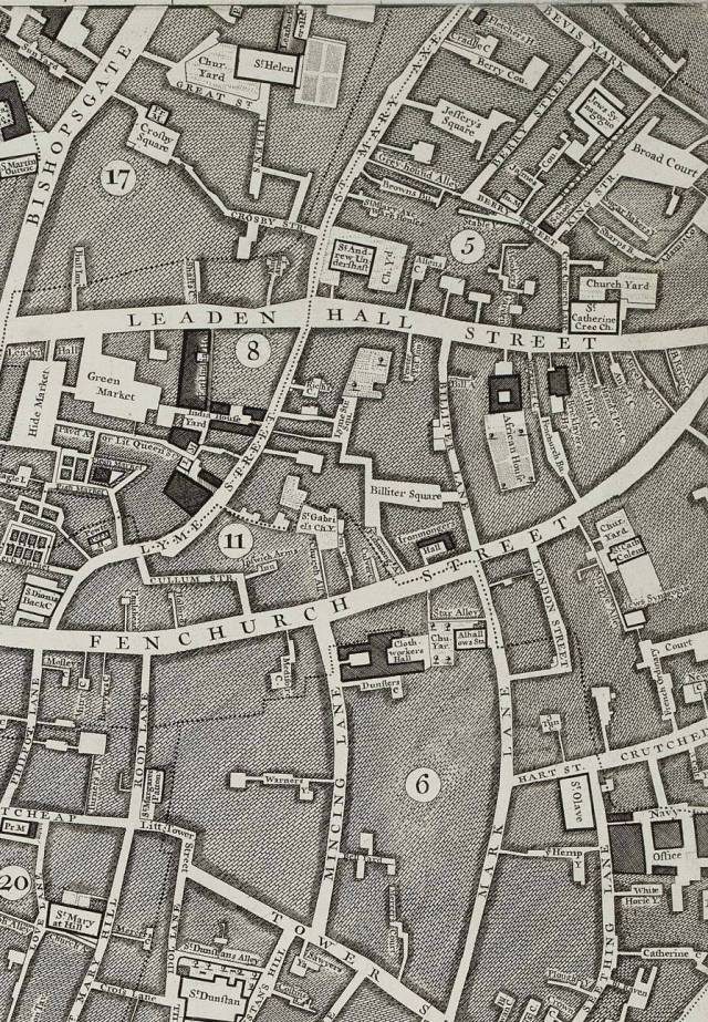 Part of Rocque's 1746 map of London, showing area around church of St Dunstan in the East