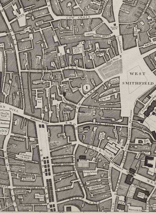 Field Lane, Holborn, is on the extreme left of this section of Rocque's map of 1746