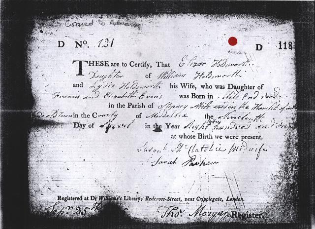 Birth record for Eliza Holdsworth