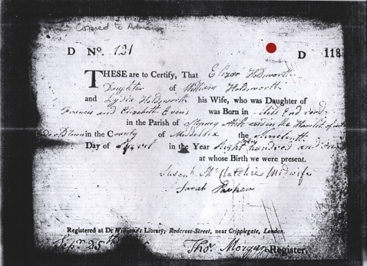 Birth record for Eliza Holdsworth
