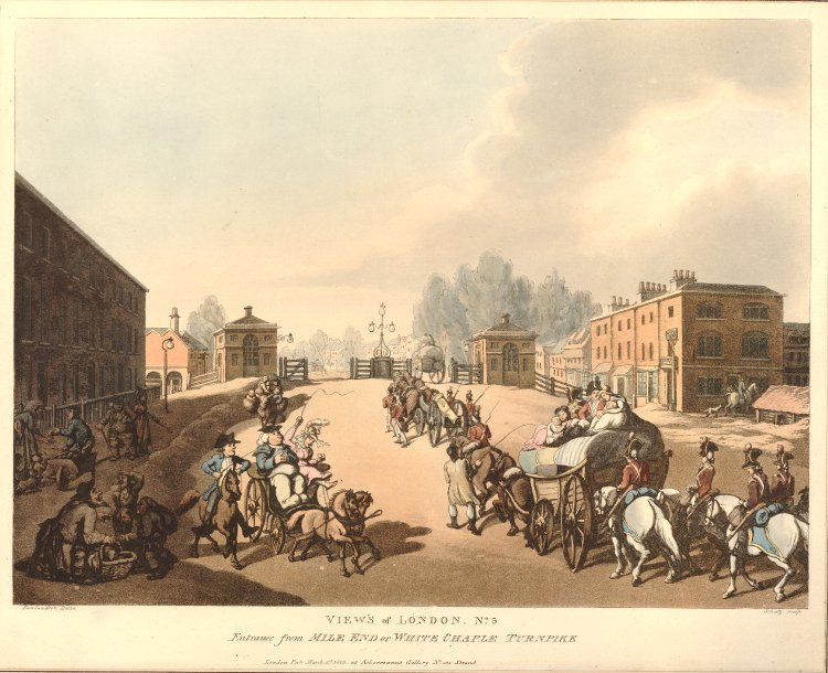 Mile End Road in 1798, a few years before Eliza was born