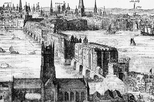 London Bridge from Southwark, with St Mary Overy in the foreground (1616, by Claes Van Visscher, via wikimedia.org)