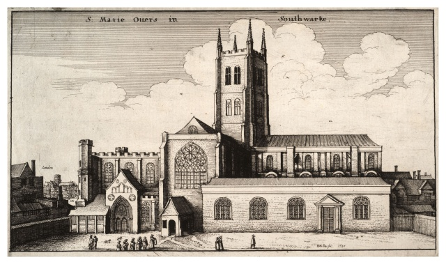 St Mary Overy in the 17th century by Wenceslas Hollar