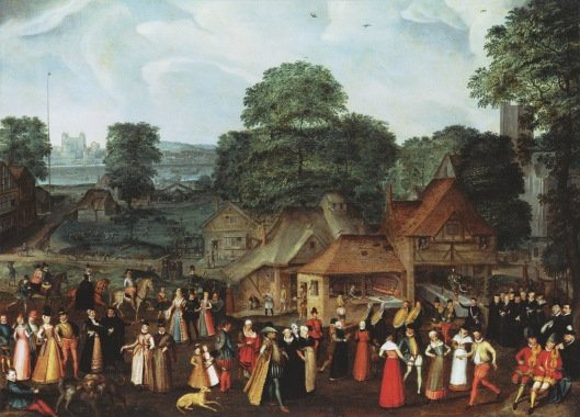 Elizabethan village scene: Joris Hoefnagel, 'Fete at Bermondsey', c. 1569