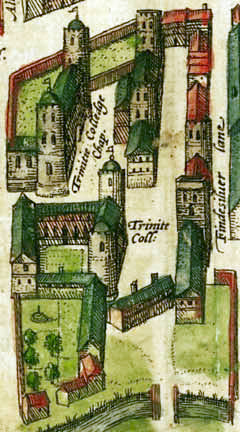 Trinity College, Cambridge, in 1575 (via wikimedia)