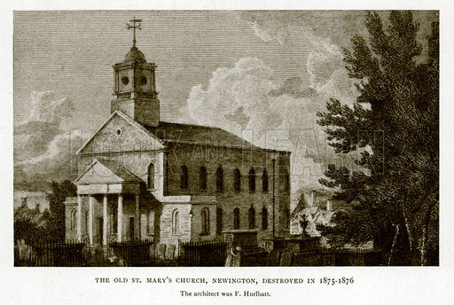The Old St. Mary's Church, Newington, Destryoed in 1875-1876